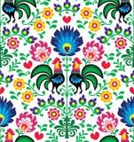 Άνευ ραφής παραδοσιακό floral πολωνικό σχέδιο με τους κόκκορες - Wzory Å  owickie απεικόνιση αποθεμάτων