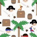 Άνευ ραφής πειρατών σχέδιο υποβάθρου παιδιών αναδρομικό Στοκ Εικόνες