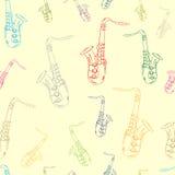 Άνευ ραφής περιγράμματα χρώματος των saxophones Στοκ φωτογραφία με δικαίωμα ελεύθερης χρήσης