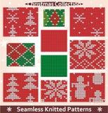 Άνευ ραφής πλεκτή συλλογή Χριστουγέννων προτύπων Στοκ Εικόνες