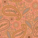 Άνευ ραφής πορτοκαλί σχέδιο με το Paisley και τα λουλούδια Διανυσματικό τετράγωνο τυπωμένων υλών Στοκ Εικόνες