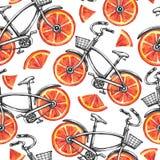 Άνευ ραφής ποδήλατα σχεδίων Watercolor με τις ρόδες γκρέιπφρουτ θερινό διάνυσμα απεικόνισης ανασκόπησης ζωηρόχρωμο Στοκ Εικόνα