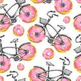 Άνευ ραφής ποδήλατα σχεδίων Watercolor με τις ρόδες donuts θερινό διάνυσμα απεικόνισης ανασκόπησης ζωηρόχρωμο Στοκ φωτογραφία με δικαίωμα ελεύθερης χρήσης