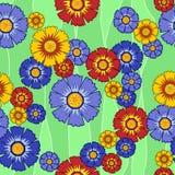 Άνευ ραφής πολύχρωμα λουλούδια σχεδίων ελεύθερη απεικόνιση δικαιώματος