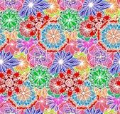 Άνευ ραφής πολύχρωμη σύσταση με τα λουλούδια doodle ελεύθερη απεικόνιση δικαιώματος