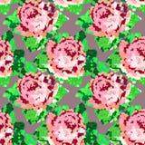 Άνευ ραφής πράσινο αφηρημένο σχέδιο με τα τριαντάφυλλα κρύβοντας διάνυσμα φιδιών εικόνων λαβυρίνθου κυνηγιού Στοκ Φωτογραφίες