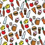 Άνευ ραφής πρότυπο ανασκόπησης με τα τρόφιμα και τα ποτά Στοκ Φωτογραφίες