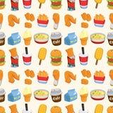 Άνευ ραφής πρότυπο γρήγορου φαγητού απεικόνιση αποθεμάτων