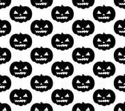 Άνευ ραφής πρότυπο κολοκύθας αποκριών Τρομακτική μαύρη σκιαγραφία που επαναλαμβάνει τη σύσταση, ατελείωτο υπόβαθρο Vetor illustra Στοκ Εικόνες