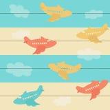 Άνευ ραφής πρότυπο με τα αεροπλάνα Στοκ Φωτογραφία