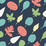 Άνευ ραφής πρότυπο με τα ζωηρόχρωμα φύλλα διανυσματική απεικόνιση