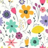 Άνευ ραφής πρότυπο με τα λουλούδια κρητιδογραφιών Στοκ φωτογραφίες με δικαίωμα ελεύθερης χρήσης