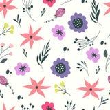 Άνευ ραφής πρότυπο με τα λουλούδια κρητιδογραφιών Στοκ εικόνες με δικαίωμα ελεύθερης χρήσης