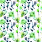 Άνευ ραφής πρότυπο με τα λουλούδια τριαντάφυλλων Στοκ εικόνα με δικαίωμα ελεύθερης χρήσης