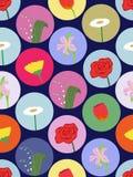 Άνευ ραφής πρότυπο με τα λουλούδια κινούμενων σχεδίων Στοκ φωτογραφία με δικαίωμα ελεύθερης χρήσης