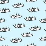 Άνευ ραφής πρότυπο με τα μάτια επίσης corel σύρετε το διάνυσμα απεικόνισης Ταπετσαρία κινούμενων σχεδίων Στοκ φωτογραφία με δικαίωμα ελεύθερης χρήσης