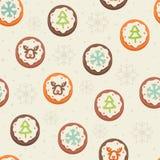 Άνευ ραφής πρότυπο με τα μπισκότα Στοκ Εικόνες