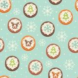 Άνευ ραφής πρότυπο με τα μπισκότα Στοκ φωτογραφία με δικαίωμα ελεύθερης χρήσης
