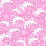 Άνευ ραφής πρότυπο με τα ρόδινα κύματα Στοκ Φωτογραφία