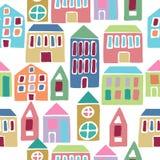 Άνευ ραφής πρότυπο με τα σπίτια κινούμενων σχεδίων Στοκ φωτογραφίες με δικαίωμα ελεύθερης χρήσης
