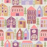 Άνευ ραφής πρότυπο με τα σπίτια κινούμενων σχεδίων Στοκ φωτογραφία με δικαίωμα ελεύθερης χρήσης