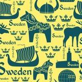 Άνευ ραφής πρότυπο με τα σύμβολα της Σουηδίας διανυσματική απεικόνιση