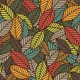 Άνευ ραφής πρότυπο με τα χρωματισμένα φύλλα Στοκ Εικόνα