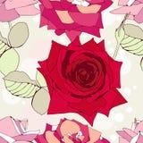 Άνευ ραφής πρότυπο με τα διακοσμητικά λουλούδια τριαντάφυλλων Στοκ Εικόνες
