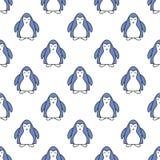 Άνευ ραφής πρότυπο με τα penguins Χαριτωμένη απεικόνιση κινούμενων σχεδίων penguin Σχέδιο ζώων επίσης corel σύρετε το διάνυσμα απ ελεύθερη απεικόνιση δικαιώματος