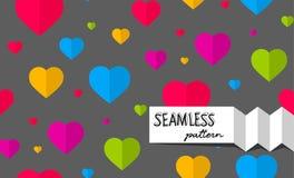 Άνευ ραφής πρότυπο με τις ζωηρόχρωμες καρδιές Στοκ φωτογραφία με δικαίωμα ελεύθερης χρήσης