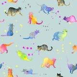 Άνευ ραφής πρότυπο με τις χαριτωμένες γάτες cat cute Απεικόνιση γατών Watercolor Σχέδιο γατών Στοκ Εικόνες