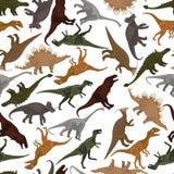 Άνευ ραφής πρότυπο με τους δεινοσαύρους Στοκ Εικόνες