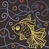 Άνευ ραφής πρότυπο με το goldfish Στοκ Εικόνα
