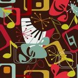 Άνευ ραφής πρότυπο μουσικής στο αναδρομικό ύφος Στοκ Φωτογραφία