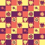 Άνευ ραφής πρότυπο προσθηκών με τα φύλλα και τα λουλούδια Στοκ Εικόνες