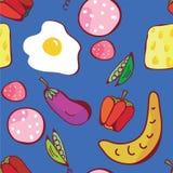 Άνευ ραφής πρότυπο τροφίμων του αστείου σχεδίου Στοκ Εικόνες