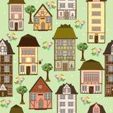 Άνευ ραφής πρότυπο των σπιτιών Στοκ Εικόνες