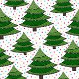 Άνευ ραφής πρότυπο χριστουγεννιάτικων δέντρων Πράσινη διανυσματική σύσταση τυλίγματος με τα νέα δέντρα έτους Διανυσματική απεικόνιση