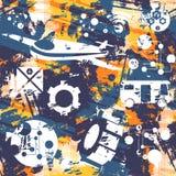 Άνευ ραφής πρότυπο Grunge Έννοια της μεταφοράς διάνυσμα Στοκ Φωτογραφίες
