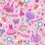 Άνευ ραφής πρότυπο Vecto Doodles παραμυθιού πριγκηπισσών διανυσματική απεικόνιση