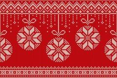 Άνευ ραφής πλέκοντας σχέδιο χειμερινών διακοπών Χριστούγεννα και νέα ανασκόπηση έτους Στοκ εικόνες με δικαίωμα ελεύθερης χρήσης