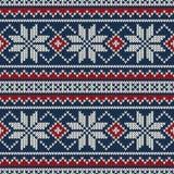 Άνευ ραφής πλέκοντας σχέδιο χειμερινών διακοπών Στοκ Φωτογραφίες
