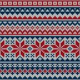 Άνευ ραφής πλέκοντας σχέδιο χειμερινών διακοπών Στοκ Εικόνες