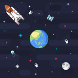 Άνευ ραφής πλανήτης Γη σχεδίων μακρινού διαστήματος στο επίπεδο ύφος Στοκ Εικόνα