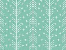 Άνευ ραφής πλεκτό σχέδιο με τη χειμερινή διακόσμηση Στοκ Εικόνες