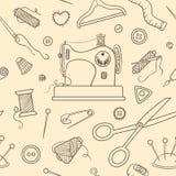 Άνευ ραφής ράβοντας σχέδιο σκίτσων Στοκ Εικόνες
