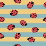 Άνευ ραφής ριγωτό κίτρινο και μπλε υπόβαθρο με τα ladybugs Στοκ Εικόνες