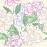 Άνευ ραφής ροζ σχεδίων με τα peonies Στοκ φωτογραφία με δικαίωμα ελεύθερης χρήσης
