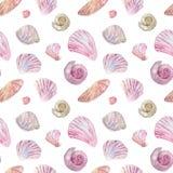 Άνευ ραφής ρόδινο και μπεζ σχέδιο κοχυλιών Watercolor απεικόνιση αποθεμάτων