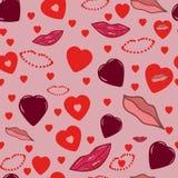 Άνευ ραφής ρόδινο ρομαντικό υπόβαθρο με τις καρδιές και τα χείλια απεικόνιση αποθεμάτων